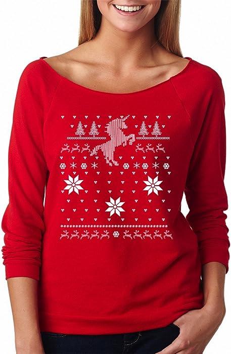 101726f6b900f9 SignatureTshirts Women's Christmas Raglan Ugly Sweater Tee 100% Cotton at  Amazon Women's Clothing store: