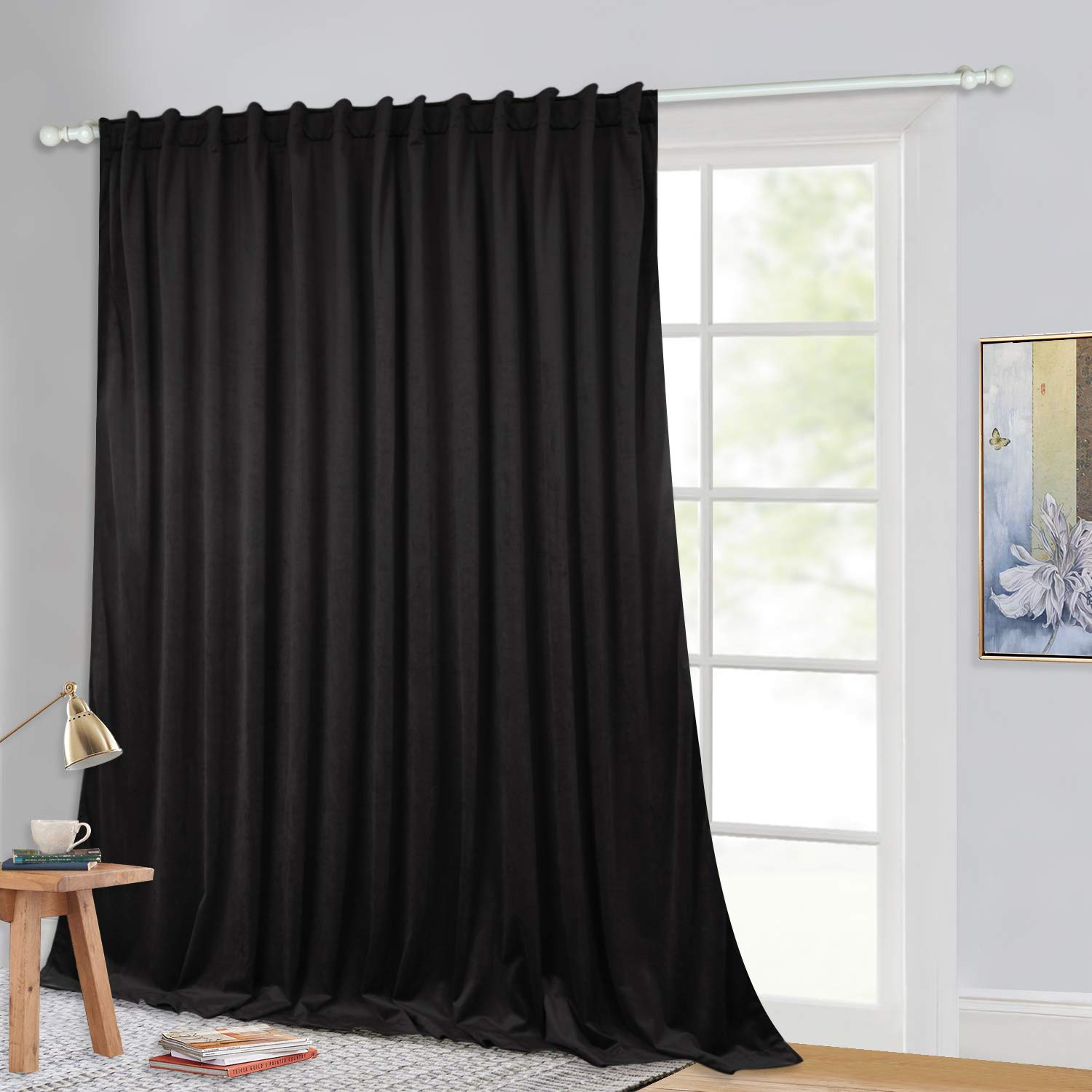 """Thermal Insulated Velvet Curtain Drapes - Double Wide Energy Save Blackout Window Treatment Sliding Door Curtains, Privacy Blinds for French Door/Studio, Wide 100"""" x Long 84"""", 1 Pack"""
