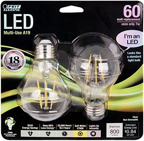 FEIT A1960//CL//LED//2 800 Lumen 2700K Non-Dimmable LED 2 PACK CLEAR