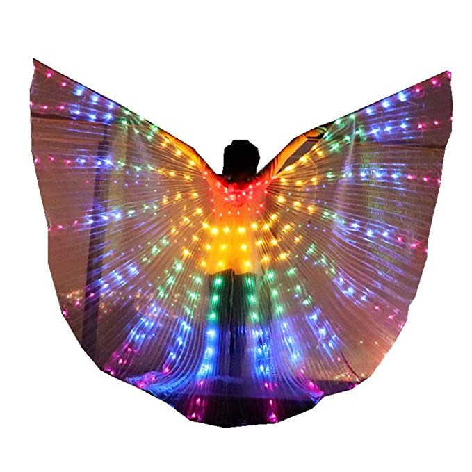 Kids LED Isis Wings Glow Light Up Belly Dance Costumes with Sticks Performance Clothing Carnival Halloween (Kids Rainbow)