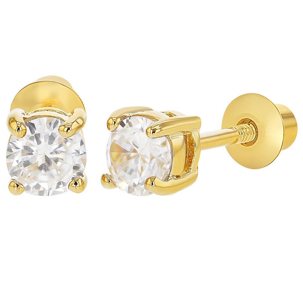 18k Gold Plated April Clear Crystal Screw Back Toddler Earrings for Kids 4mm In Season Jewelry 03-1257