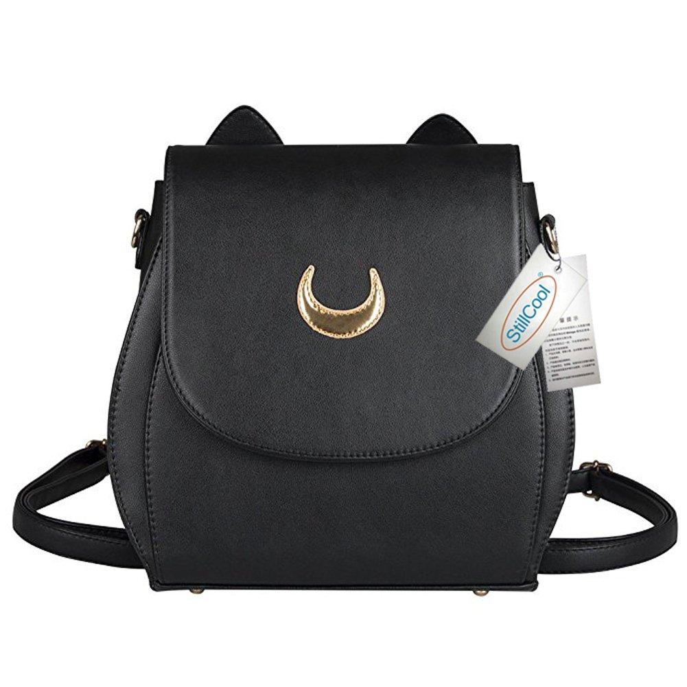 StillCool Cosplay Sailor Moon 20. Tsukino Usagi PU Leather Cat Shape Chain Backpack Women Girls Handbag Shoulder Bag Rucksack (Black Backpack) U3502
