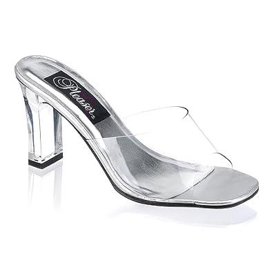 3 1/4 Inch Sexy Wedding Shoe Single Sole Square Heel Slide Clear Black