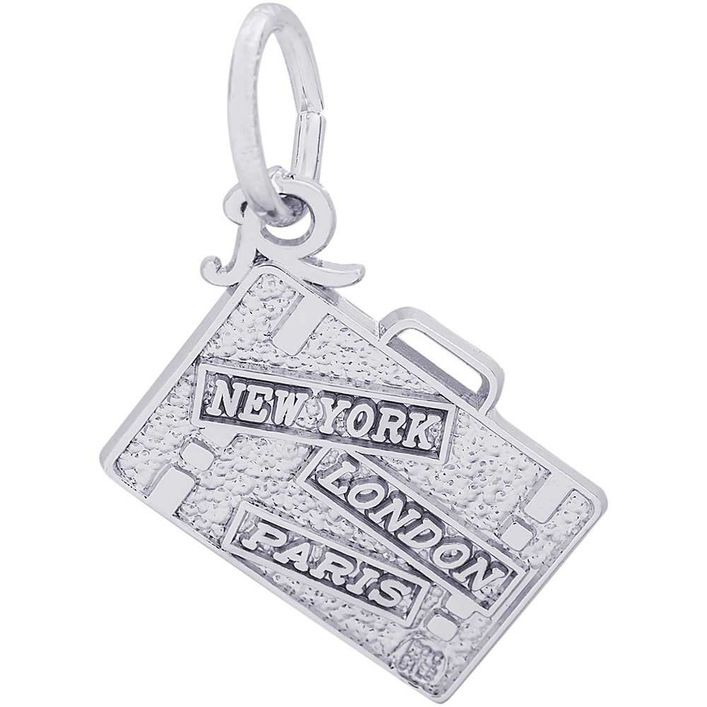 Rembrandt Charms Suitcase Charm, Sterling Silver