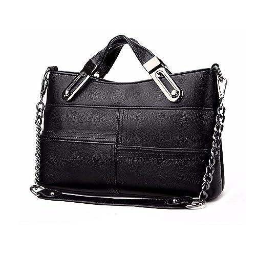 Leparvi Women s Retro Shoulder Bag PU Leather Crossbody Tote Handbag  Messenger Bag (Black) 64712e5233afa
