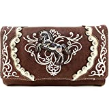 Justin West Horse Floral Embroidery Square Stud Croc Wristlet Trifold Wallet Attachable Long Strap (Brown)