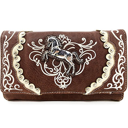 Justin West Horse Floral Embroidery Square Stud Croc Wristlet Trifold Wallet Attachable Long Strap (Brown) by Justin West
