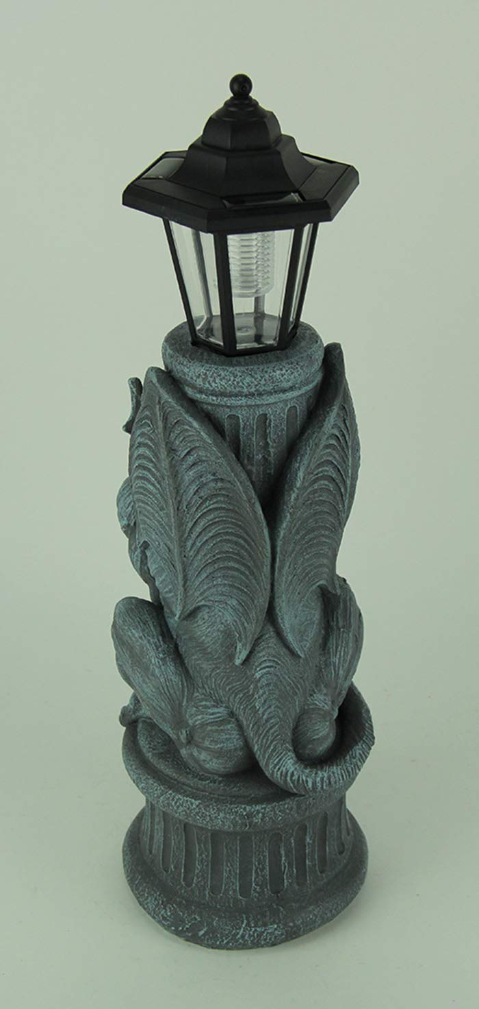 World Of Wonders Resin Outdoor Figurine Lights Gothic Guardian Gargoyle Led Solar Light Garden Statue 7.5 X 20 X 5.75 Inches Blue by World Of Wonders (Image #3)