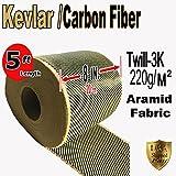Kevlar Fabric- (YLW-Blk 5ft x 8 in) 2x2 Twill WEAVE-3K/200g