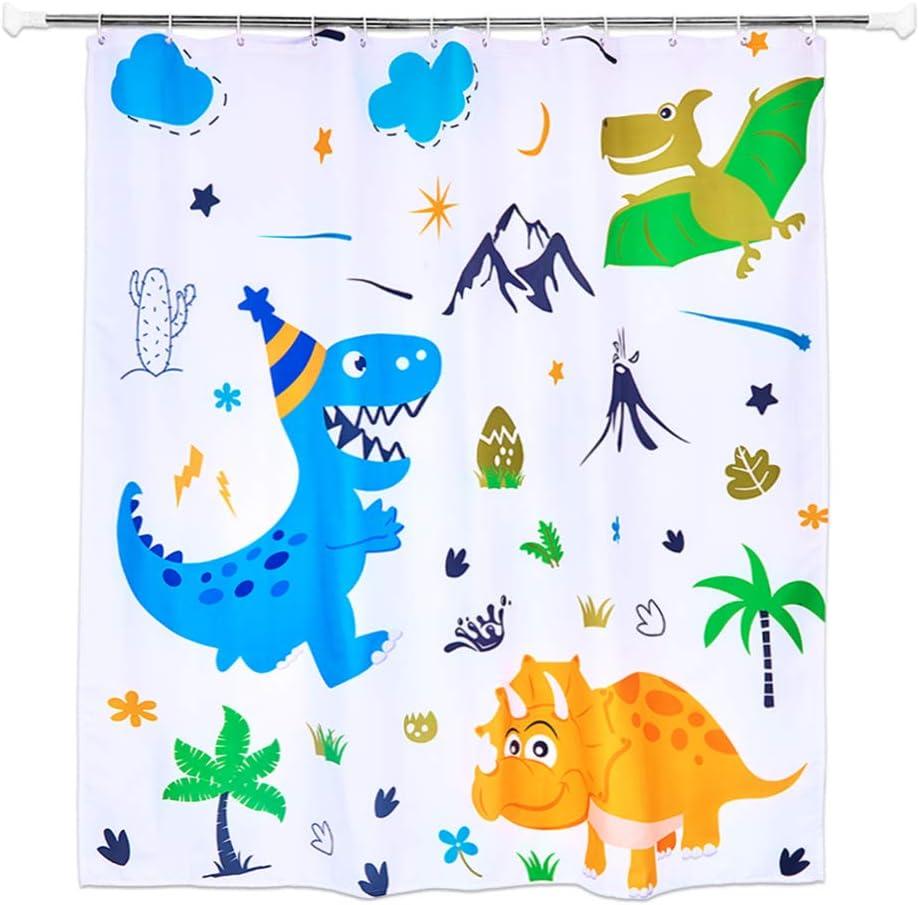 WERNNSAI Rideau Douche Dinosaure 180 x 180cm Rideau de Douche pour Enfants R/ésistant /à la Moisissure Rideau Salle de Bain Polyester Lavable Tissu Decoration avec des Crochets en Plastique