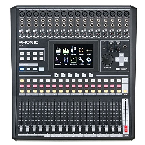 Console 8 Recording Bus (Phonic IS16 16-Input 8-Bus Digital Mixing Console with Color Touch Screen and VGA Output; 31-band GEQ available on EFX 1 and Main Out, 15-band GEQ on EFX 2; Digital AES/EBU Input and Output)