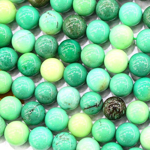 Natural Color Genuine Grass Chrysoprase Round Gemstone Jewelry Making Loose Beads (8mm) ()