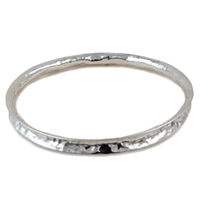 Large 925 Sterling Silver Curved Edge Hammered Bangle c8Mq2P