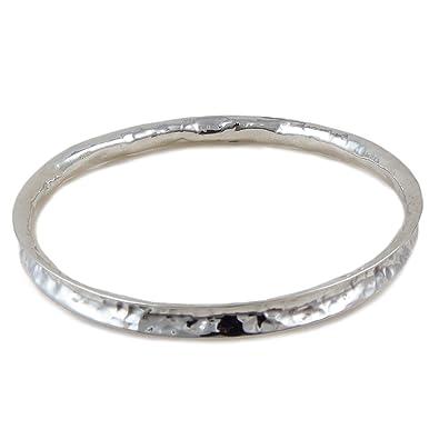 Large 925 Sterling Silver Curved Edge Hammered Bangle qiKBeMJASj