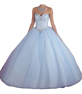 3ea7369d36 Beilite Women s Sweetheart Prom Long Dresses Quinceanera Gown with Crystal  Sequins