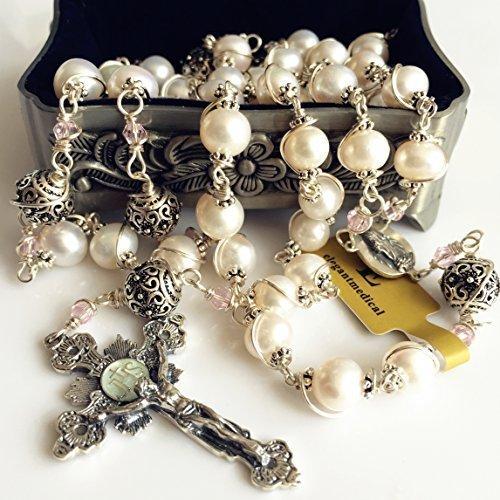 elegantmedical HANDMADE Bali 925 Sterling Silver Bead +AAA 8-9mm Real Pearl Catholic Rosary NECKLACE Cross Box by elegantmedical
