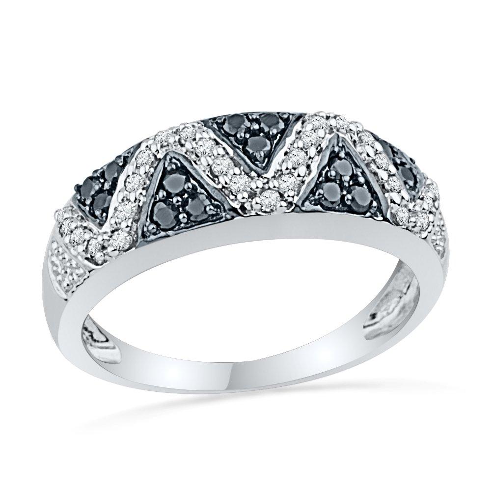 10KT White Gold Black and White Round Diamond Fashion Ring (1/2 cttw)