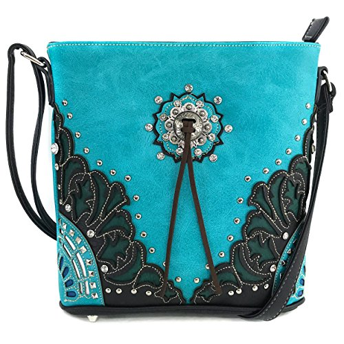 Justin West Autumn Fringe Cut Concho Rhinestone Concealed Carry Handbag Purse Matching Wallet (Turquoise Messenger Only)