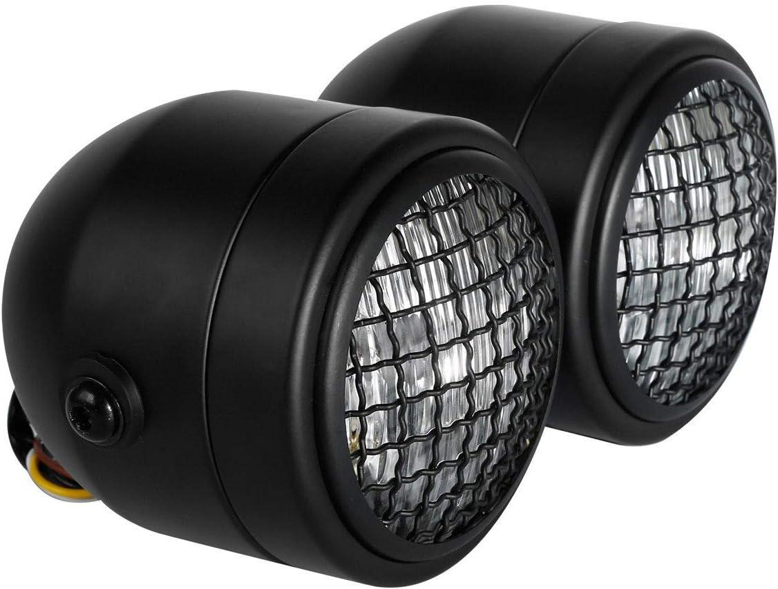 Matte Black Style B TCMT Dominator Chrome Headlights W//Bracket Fits For Dirt Bike Street Fighter Cafe Racer