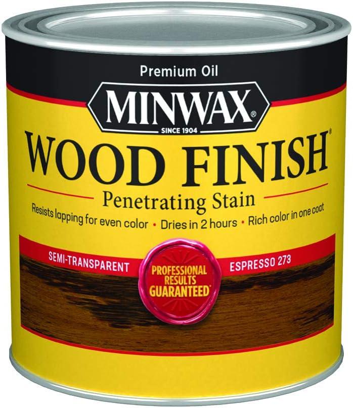 Minwax 22763444 Tinte de madera penetrante para interior de madera, 1/2 pinta, Espresso