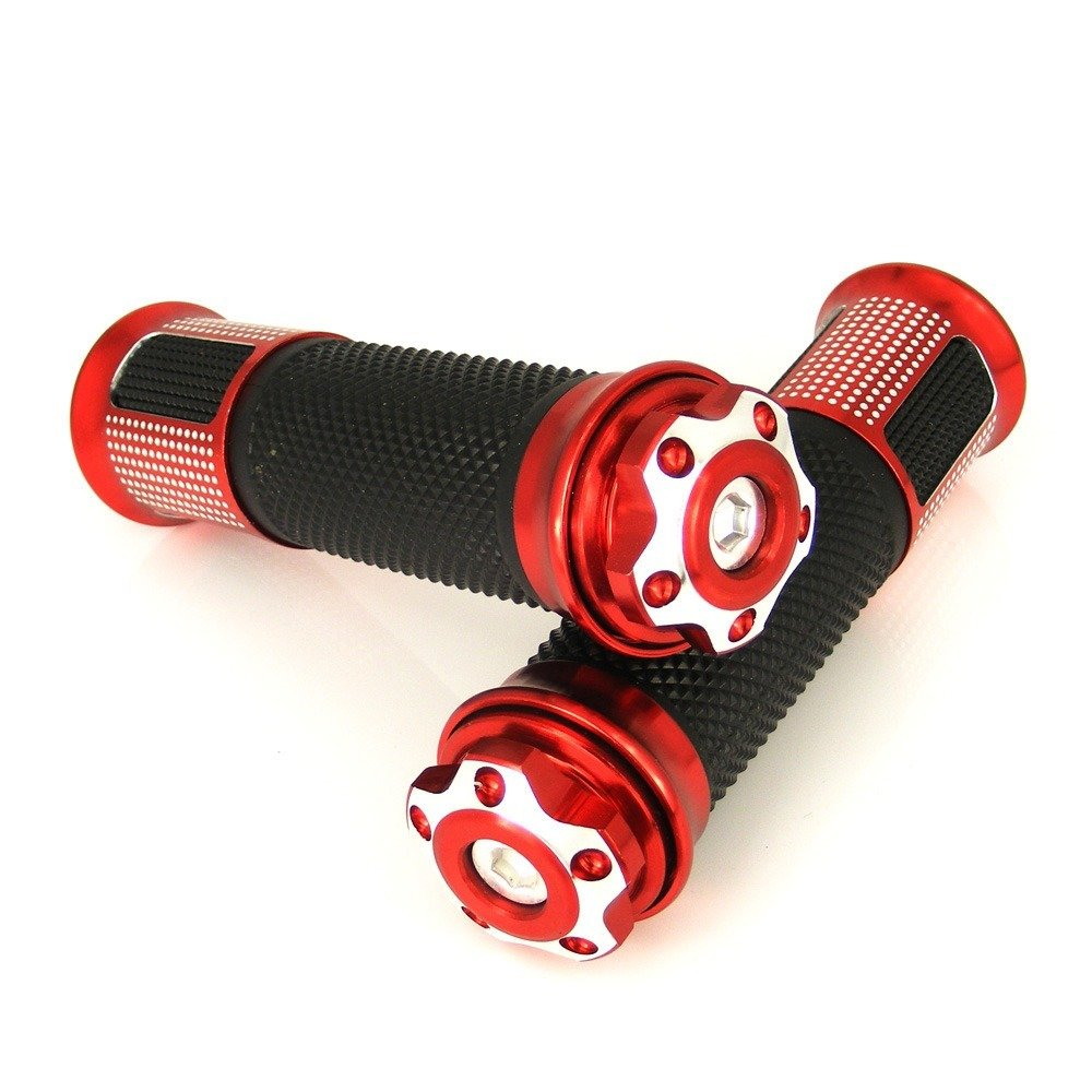 2 X 7/8''(22mm) Universal Motorcycle Parts Enduro Dual Sport Bike MX Motocross Aluminum & Soft Rubber Gel Handlebar Handle bar Grips Red (B4#) Fit for YAMAHA YZF R6 1999-2004 (F-14/Y-688) by Keewor