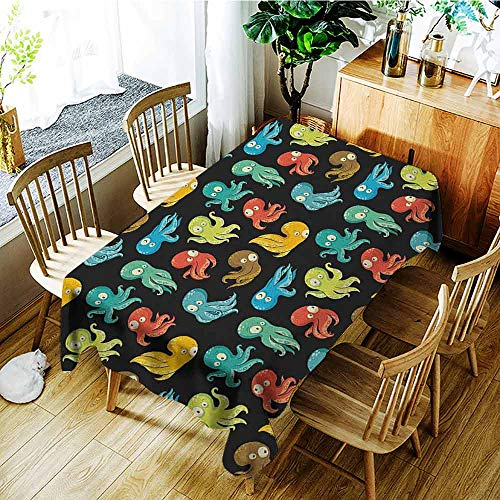 XXANS Rectangular Tablecloth,Octopus,Octopus Cartoon Drawing Style Funny Characters from Ocean Underwater Life Image,Table Cover for Kitchen Dinning Tabletop Decoratio,W60x120L Multicolor -