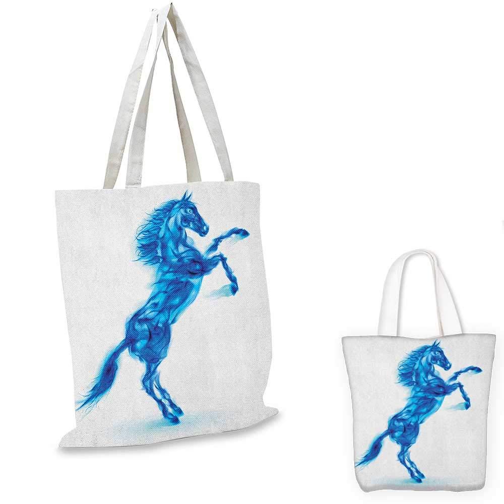 ブルーファイヤーホースの馬の馬のイラスト 怒る悪魔 自由に動くテーマ ホワイト ダークブルー 14