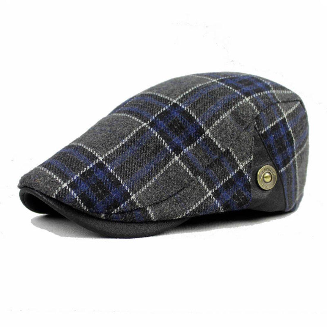 King Star Men Wool Blend Checked Classic Flat Ivy Newsboy Hat H17060704-2