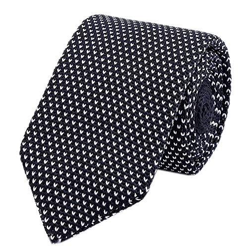 White Black Tie Woven Casual Preppy Stylish Necktie for Tall and Big Men or Boys by Kihatwin (Image #1)'