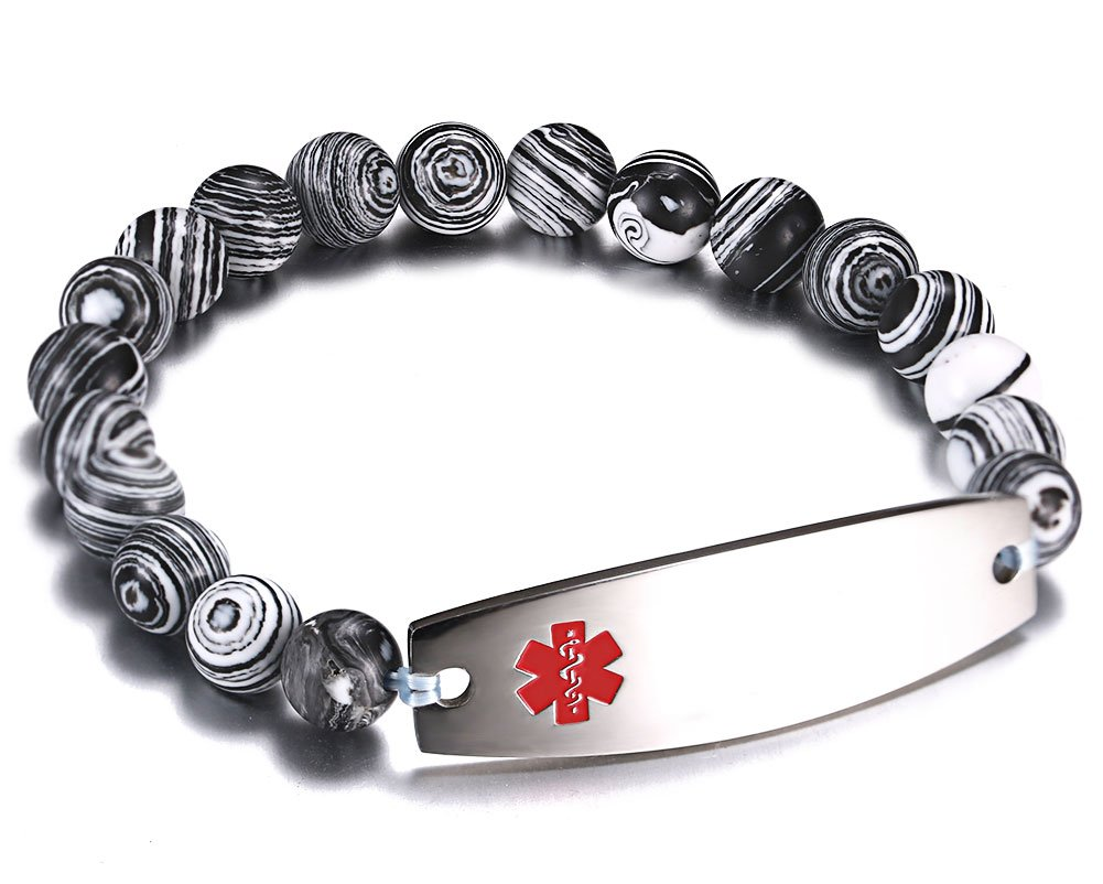 Free Engraving Medical Alert ID Bracelet for Women and Men with Zebra Pattern Beaded Stretch Link