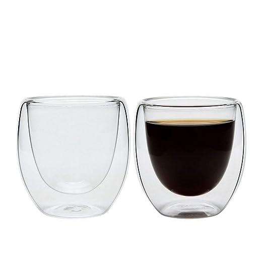 ComSaf 80ML Taza de Café Espresso Aislamiento Transparente Talla Pequeña Vidrio Paquete de 2, Vasos para Té Negro Té Verde y Café Doble Pared Idea ...