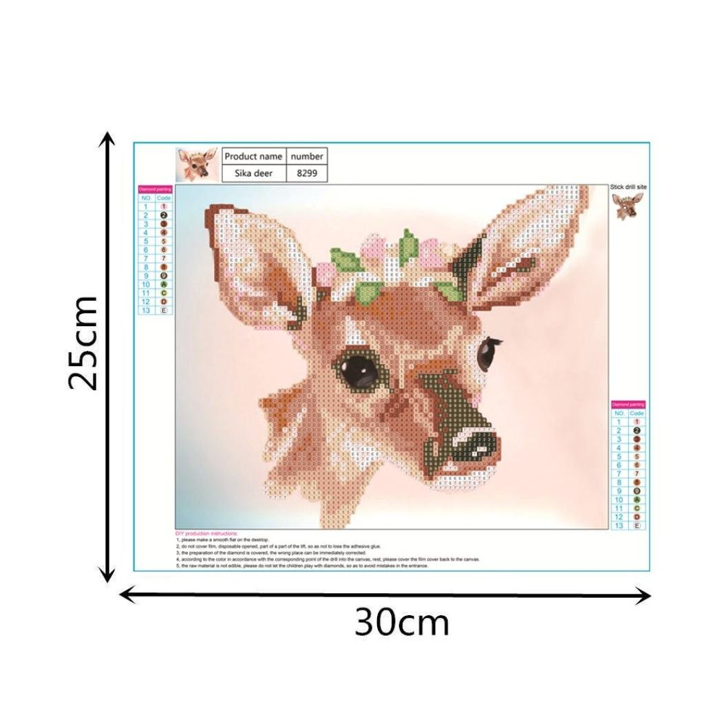 5D Diamond Painting by Number Kits, Crystal Rhinestone Diamond Embroidery Paintings Pictures Arts Craft for Home Wall Decor, Colorful Deer (F) by Franterd DIY (Image #6)