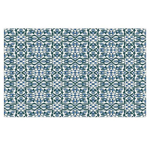 iPrint 3D Floor/Wall Sticker Removable,Vintage,Stylized Floral Motifs Hand Tile Ancient Antique European Pattern,Reseda Green Silver Blue,for Living Room Bathroom Decoration,35.4x23.6