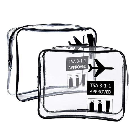 Bolsa de aseo transparente Aprobado por la TSA, leegoal Bolsa de cosméticos transparente de aseo