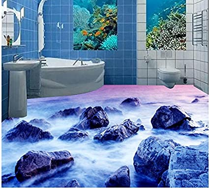Amazon Com Lwcx 3d Bathroom Wallpaper Waterproof Reef