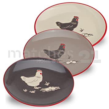 Teller Kuchenteller Huhn Ostern beige dunkelgrau Keramik 3er Set 21 hellgrau