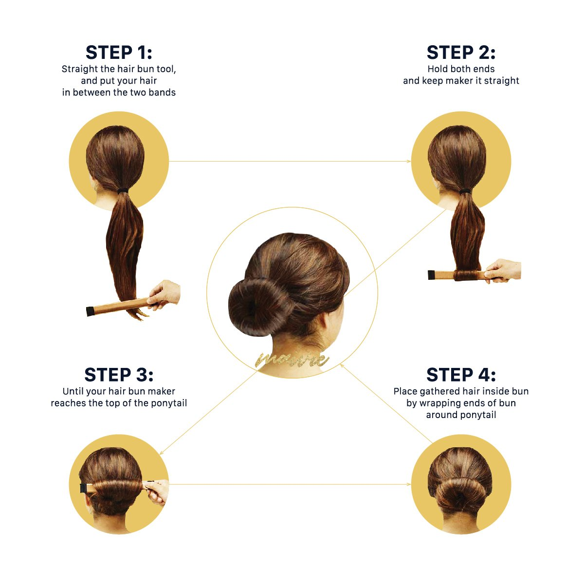 Hair Buns Maker - Fast Messy Perfect Sock Bun Magic Curler Clip French Donut Twist Shaper - Easy DIY Accessories Styling Tool for Women Girls - 3 PCS (Black, Blonde, Brown color) and 1 Hair Tie by Maivie (Image #7)
