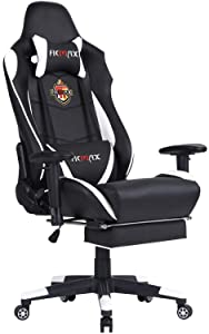Ficmax Massage Gaming Chair Reclining Racing Office Chair High Back Gamer Chair with Footrest Large Size Video Game Chairs Comfortable Gaming Desk Chair with Headrest and Lumbar Support (Black/White)