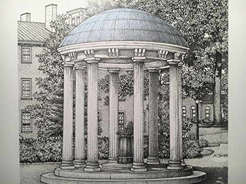 North Carolina Chapel Hill - Old Well 8''x10'' pen and ink print by Campus Scenes