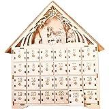 Lambowo 木製アドベントカレンダーカウントダウンライトクリスマスパーティー24引き出し引き出しLEDライトクリスマスの雰囲気クリスマス木製白いアドベントカレンダーハウス