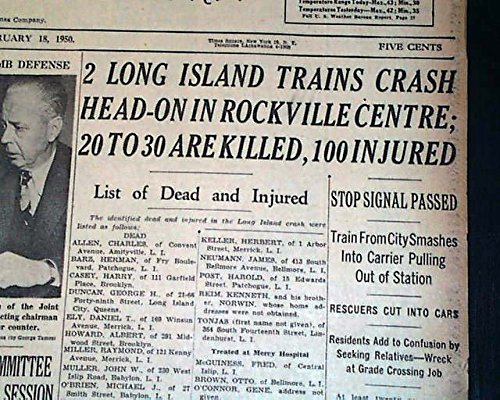 ROCKVILLE CENTRE NY Trains Collision Disaster Long Isle Railroad 1950 Newspaper