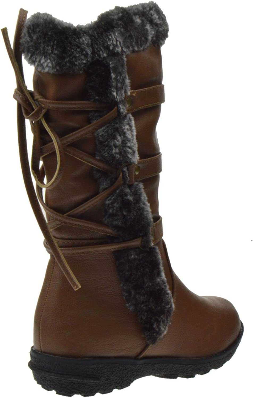 Aura 42K Little Girls Fur Shearling Boots Tan