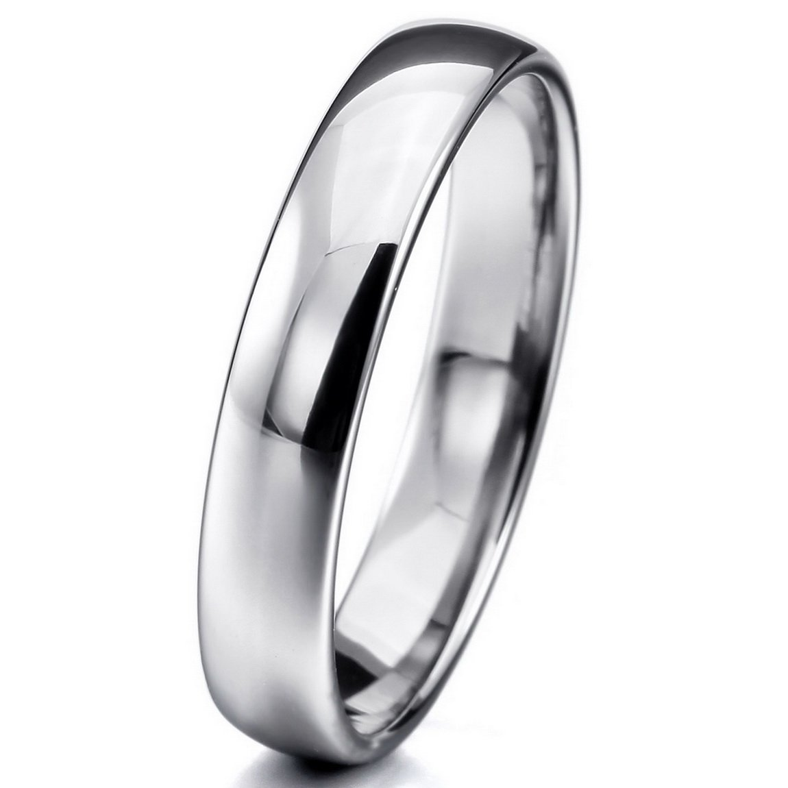 INBLUE Men,Women's Wide 4mm Tungsten ring Band Silver Tone Comfort Fit Wedding Size12
