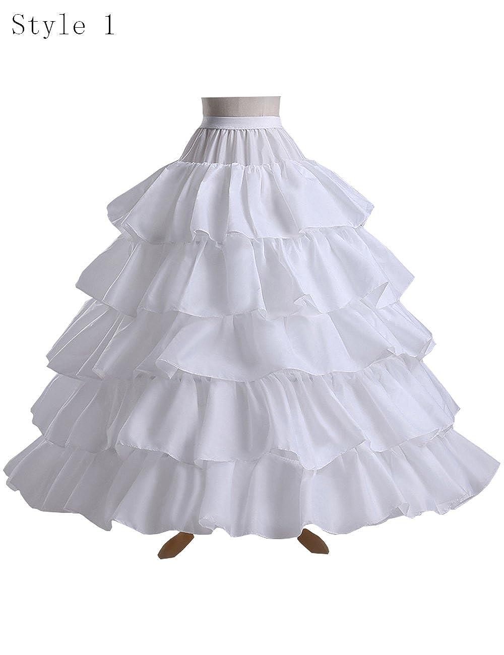 6ee491da8d47e Aorme Women s 4 Hoops 5 Layers Petticoat Crinoline Skirt Under Dress Ball  Gown