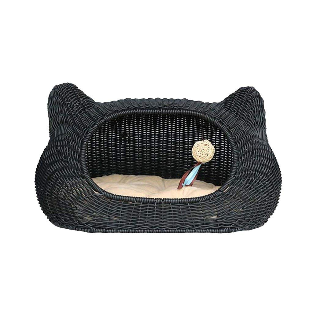 Gwanna Pet House Pet Bed Cat Nest Cat House Cat Bed Cat Cage Kennel Mat Dog House Pet Supplies Rattan Rest mat (color   BLACK) Soft Pad for Pets Sleeping