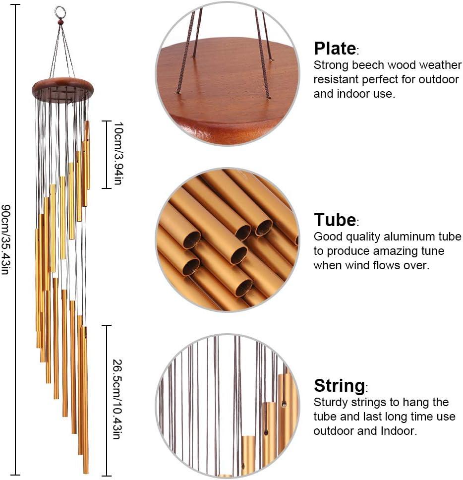 jardin argent int/érieur 18 tubes en alliage daluminium Grand carillon pour ext/érieur Son apaisant naturel rainday Carillons /à vent terrasse