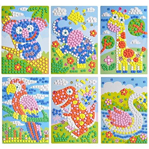 VANVENE Sticky Mosaic Sticker Art DIY Handmade Art Kits for Kids - Sloth, Elephant, Giraffe, Woodpecker, Tyrannosaurus Rex, Goose (6 Pack) ()