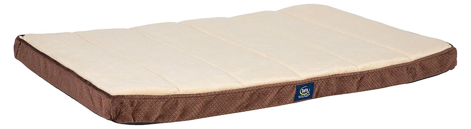 Serta Ortho Quilted Memory Foam Crate Mat Cover, Large, Brown - Replacement Cover Only