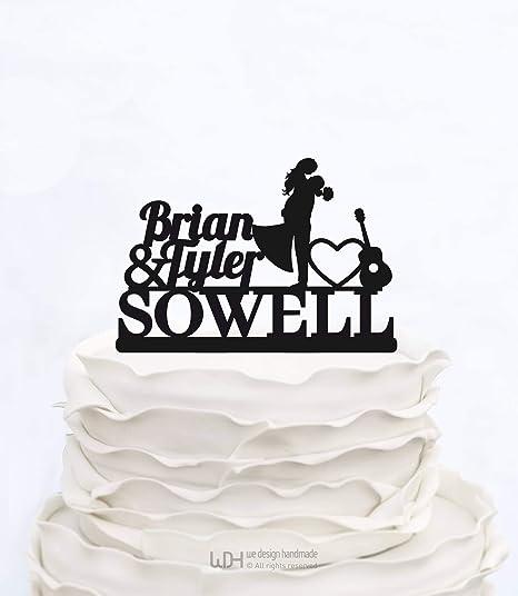Decoración para tarta con diseño de notas musicales con guitarra ...