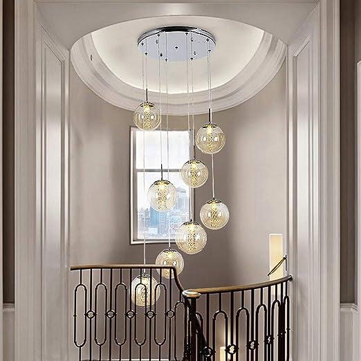 Mlshlf lamp Lámpara de Escalera Minimalista Moderna Lámpara de Sala de Personalidad Lámpara de Bola de Vidrio múltiple Lámpara de Sala de Estar Villa Escalera de Bola de Vidrio dúplex Lámpara Larga: